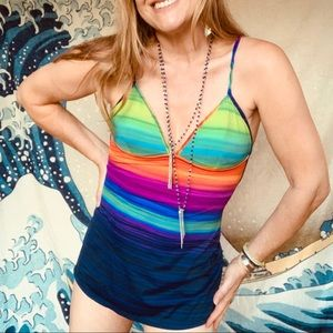 Vintage rainbow swim dress. Size S